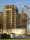 Московский пр., дом 183-185. Строительство корпуса жилого комплекса «Граф Орлов» со стороны Московского проспекта. 30 октября 2014 года.
