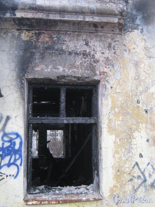 Пр. Ветеранов, дом 141, корпус 2. Окно сгоревшего дома. Фото февраль 2014 г.