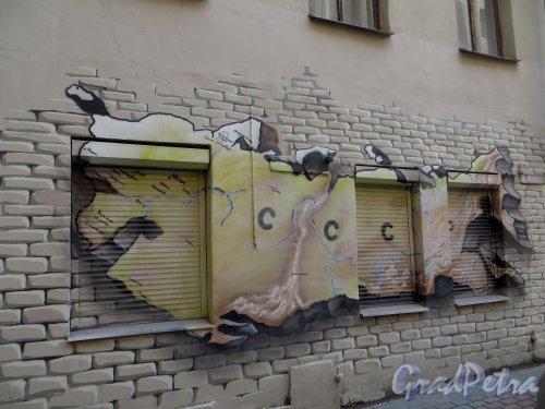 Малый проспект П.С., дом 1 /ждановская набережная, дом 3. Граффити «Карта СССР» во дворе жилого дома. 22 марта 2014 года.