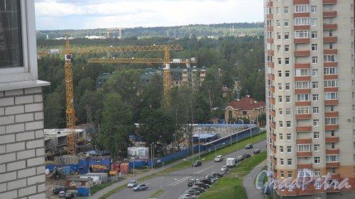 Малая Десятинная улица, дом 36 / Новоутиная улица, дом 12. ЖК «Коломяги-ЭКО». Панорама строительной площадки. Фото 17 июня 2014 года.