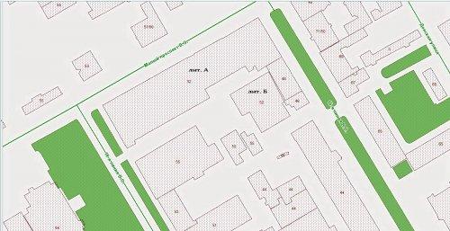Малый проспект В.О., дом 52. Расположение строений на участке на начало 2014 года.