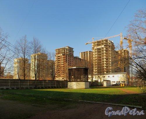 Московский пр., дом 183-185. Строительство корпусов жилого комплекса «Граф Орлов». 30 октября 2014 года.