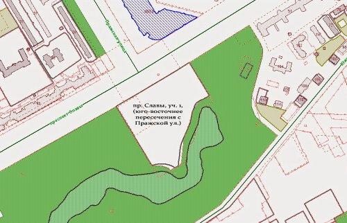 проспект Славы, участок 1, (юго-восточнее пересечения с Пражской улицей). Общий план участка на январь 2015 года.