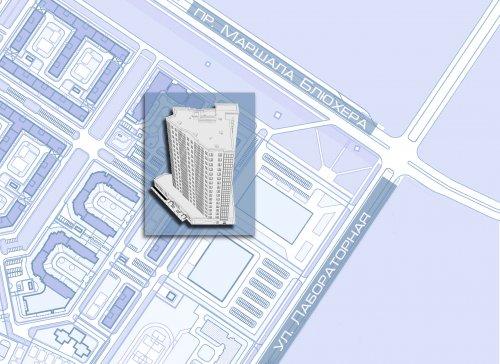 Проспект Маршала Блюхера, участок 18 (западнее пересечения с Лабораторной улицей) в составе квартала 24-27 района Полюстрово.