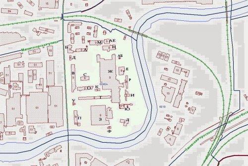 проспект Энергетиков, дом 9. Расположение зданий и сооружений на участке по данным РГИС на 2014 год.