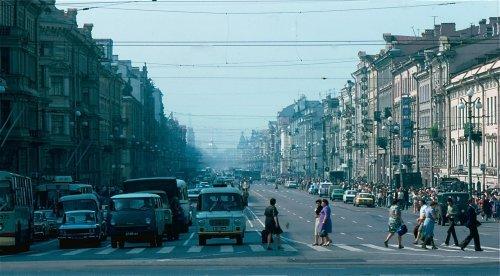 Перспектива Невского проспекта от Лиговского проспекта в сторону улицы Марата и улицы Маяковского. 1981 год. Йоргенсен путешествует по Советскому Союзу.