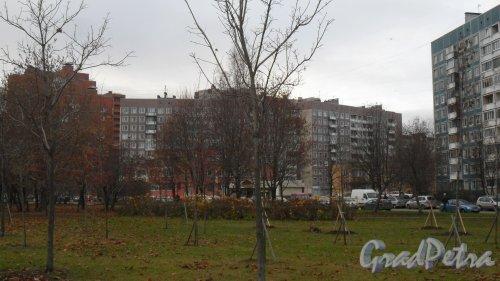 Комендантский проспект, дом 27, корпус 2. 10-этажный жилой дом 504Д серии 1988 года постройки. 6 парадных. 249 квартир. Вид дома с Долгоозерной улицы. Фото 13 ноября 2015 года.