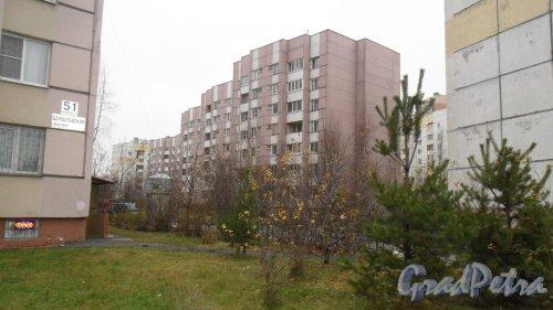 Комендантский проспект, дом 50, корпус 2. 7-этажный жилой дом серии 600.11 2002 года постройки. 3 парадные. 84 квартиры. Фото 20 ноября 2015 года.