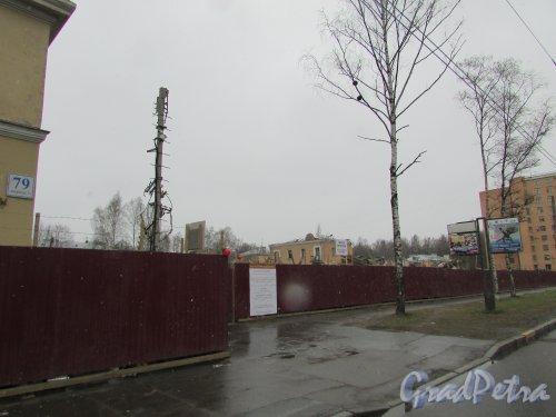 Ограждение участка домов 73-77 по проспекту Тореза после сноса двухэтажных зданий. Фото 14 апреля 2016 года.