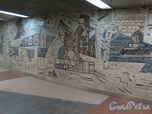 Заневский пр., д. 73. Мозаика в подземном вестибюле Ладожского вокзала. Фото сентябрь 2014 г.