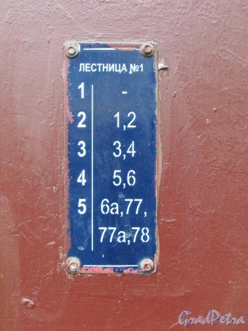 Невский проспект, дом 128. Табличка с номерами квартир на Лестнице №1. Фото 17 октября 2016 года.