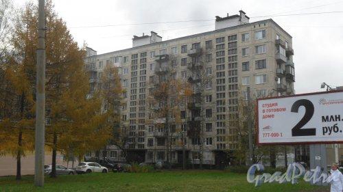 Заневский проспект, дом 59. 9-этажный жилой дом серии 1-ЛГ606 1962 года постройки. 5 парадных, 172 квартиры. Фото 2 ноября 2016 года.