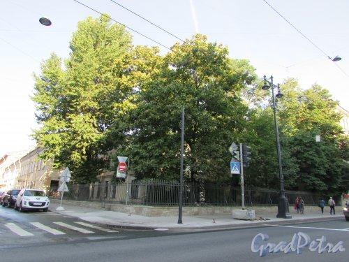 Московский проспект, дом 37 / 5-я Красноармейская улица, дом 1. Сквер на углу Московского проспекта. Фото 22 августа 2016 года.