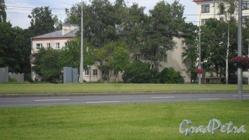 Проспект Непокоренных, дом 64. 3-этажный жилой дом 1960 года постройки. 2 парадные, 24 квартиры. Фото 15 июля 2017 года.