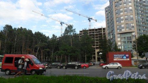 Проспект Тореза, дом 118,литер А. ЖК «LENINGRAD», https://leningrad.lidgroup.ru/about/ . Вид новостройки с проспекта Энгельса. Фото 1 августа 2017 года.