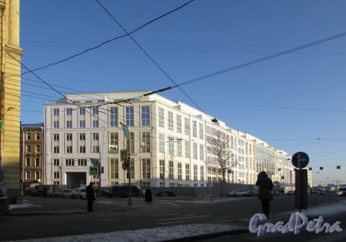 Смольный проспект, дом 17, строение 1. Общий вид жилого комплекса «Смольный проспект» со стороны Тульской улицы. Фото 31 января 2018 года.