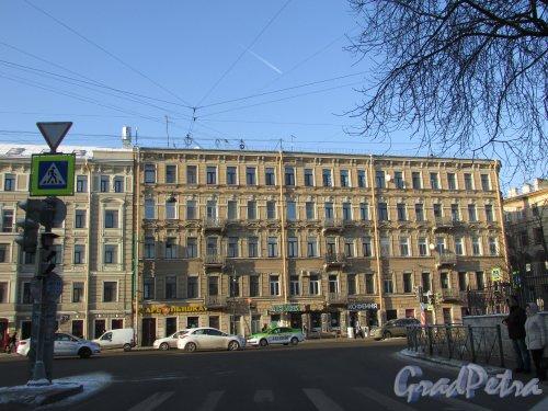 Лиговский проспект, дом 27 / переулок Ульяны Громовой, дом 7. Лицевой фасад здания. Вид от 2-ой Советской улицы. Фото 31 января 2018 года.