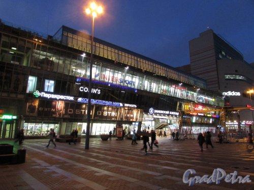 Заневский проспект, дом 67, корпус 3, литера А. Корпус Торгового центра «Заневский каскад-1» в ночном оформлении. Фото 5 января 2017 года.