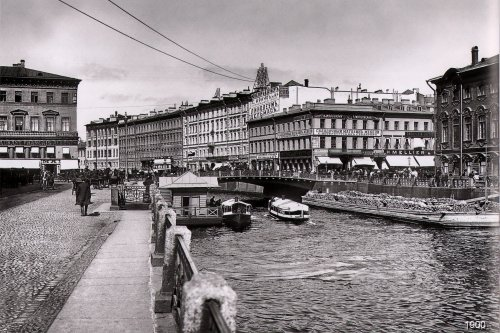 Невский проспект, дом 20. «Зелёный мост через Мойку». Фото начало XIX века.