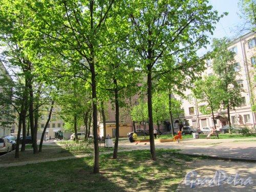 Сквер Соловьева-Седого во дворе дома 148 и дома 150 по Невскому проспекту. Общий вид со стороны Конной улицы. фото май 2018 г.