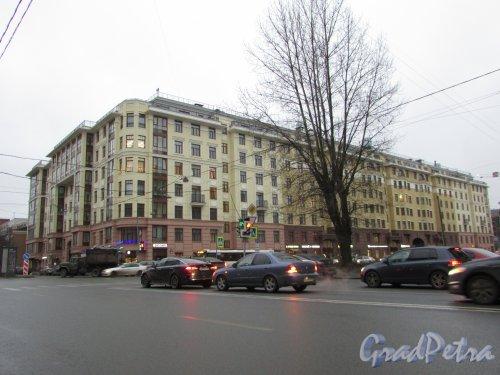 Малый проспект В.О., дом 52, строение 1. Общий вид жилого комплекса «Fjord» от строительной компании «ЮИТ Санкт-Петербург». Фото 22 декабря 2019 года.