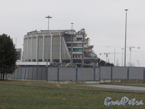 проспект Юрия Гагарина, дом 8, литера А. Общий вид здания СКК после обрушения комплекса. Фото 16 февраля 2020 г.