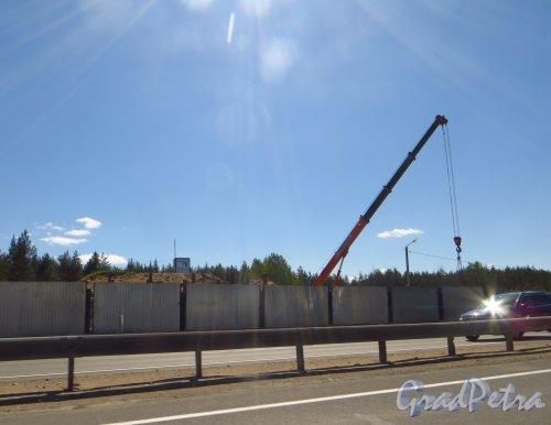 Строительство новой автомобильной развязки Мурманского шоссе (Р-21, Е 105 «Кола») и А-120. Фото 15 июня 2014 года.