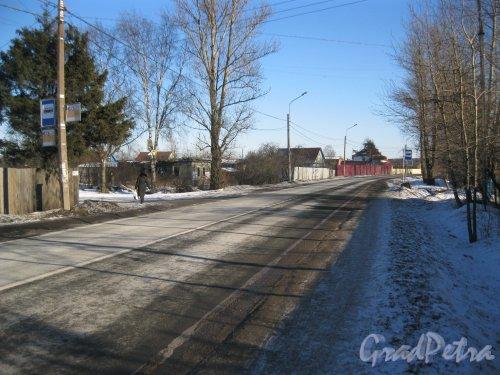 Пос. Торики, Аннинское шоссе. Вид от Ленинградской ул. в сторону Аннинского шоссе. Фото 16 февраля 2015 г.