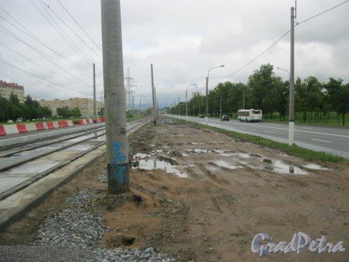 Петергофское шоссе недалеко от пр. Кузнецова. Замена трамвайных рельсов. Фото 8 июля 2016 г.