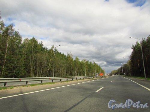 Федеральная трасса М-18 «Кола» (Мурманское шоссе) на участке 27 километра. Фото 8 сентября 2016 года.