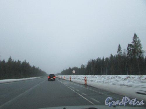 Реконструкция трассы А-181 (Е-18 «Скандинавия») на участке Огоньки - перекрёсток с трассой 41А-025. Фото 20 декабря 2019 года.