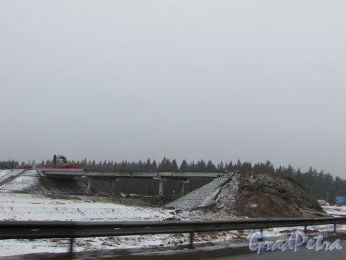 Реконструкция трассы А-181 (Е-18 «Скандинавия») Перестройка автомобильной развязки с трассой 41А-025. Фото 20 декабря 2019 года.