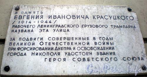 Ул. Красуцкого, д. 1. Мемориальная доска Е.И.Красуцкому. Февраль 2009 г.