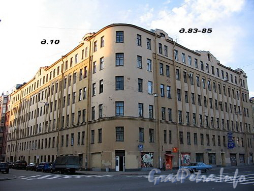 Ул. Володи Ермака, д. 10 / пр. Римского-Корсакова, д. 83-85. Общий вид здания. Фото август 2009 г.