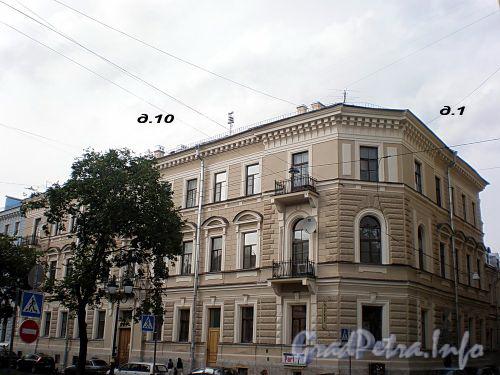 Фурштатская ул., д. 10 / Друскеникский пер., д. 1. Доходный дом В.П.Орлова-Давыдова. Общий вид здания. Фото сентябрь 2009 г.