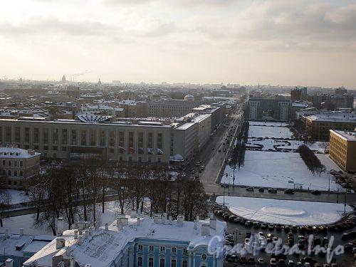 Перспектива Шпалерной улицы от пл. Растрелли в сторону Таврической улицы. Вид с колокольни Смольного собора. Фото февраль 2009 г.