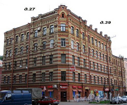Канонерская ул., д. 27 / Английский пр., д. 39. Доходный дом А. В. Красавина. Общий вид здания. Фото август 2009 г.