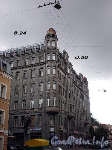 Канонерская ул., д. 24 / Английский пр., д. 50. Доходный дом Ф. Н Тимофеева. Общий вид здания. Фото август 2009 г.