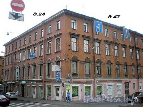 Гороховая ул., д. 24 / наб. канала Грибоедова, д. 47. Доходный дом И. Д. Черткова. Общий вид здания. Фото июль 2009 г.