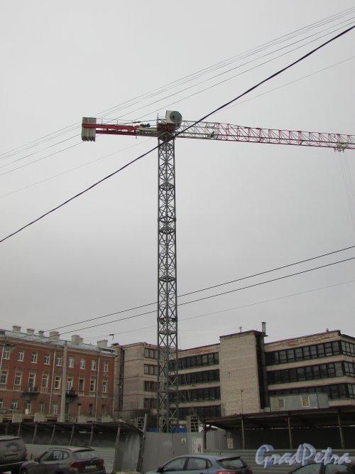улица Александра Невского, уч. 1 (дом 8). Подъёмный кран на строительной площадки гостиницы. Фото 2 марта 2019 года.