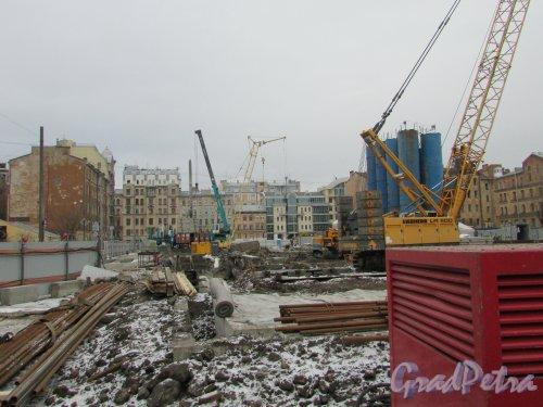 Тележная улица, дом 17-19. Общий вид участка после сноса зданий от Миргородской улицы в сторону Тележной улицы. Фото 2 марта 2019 года.