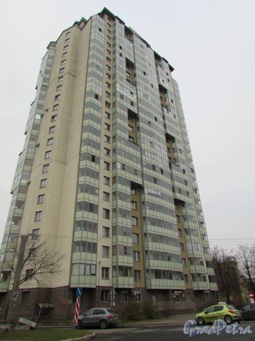 Новолитовская улица, дом 4. Фасад жилого дома «SKY» со стороны улицы Харченко. Фото 8 ноября 2018 года.