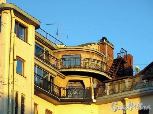 Стремянная ул., д. 11. Собственный дом архитектора А.Ф. Бубыря. Вид на мансардный этаж со стороны двора. фото ноябрь 2017 г.