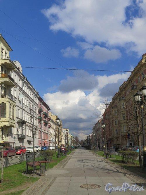 Фурштатская ул. Вид бульвара от дома 12 к пр. Чернышевского. фото апрель 2018 г.