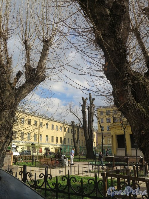 Захарьевская ул., д. 14. Вид дворового сквера с фонтаном. фото апрель 2018 г.