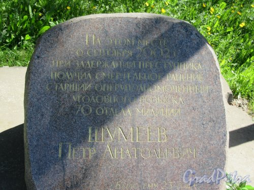 ул. Коллонтай, д. 17. Поминальный камень П.А. Шумееву, на месте смертельного ранения (с надписью). фото май 2018 г.