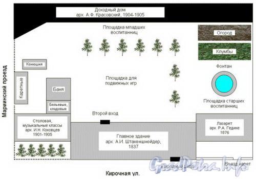 План Мариинского института в начале XX века (реконструкция по воспоминаниям Е.П. Фейгиной). Фото с сайта школы № 163