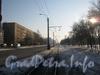 Перспектива трамвайного пути по ул. Лётчика Пилютова от пр. Ветеранов в сторону пр. Народного Ополчения. Справа дом 40 корпус 1. Фото февраль 2012 г.