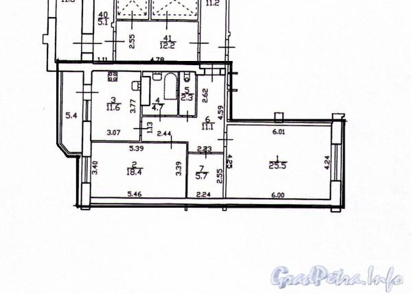 Пулковская ул., д. 2, корпус  1. Планировка трехкомнатной квартиры. Фото 2011 г.