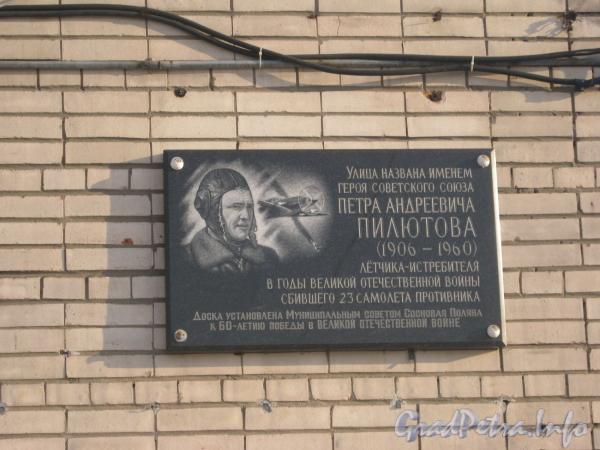Мемориальная доска П.А. Пилютову. Фото январь 2012 г.